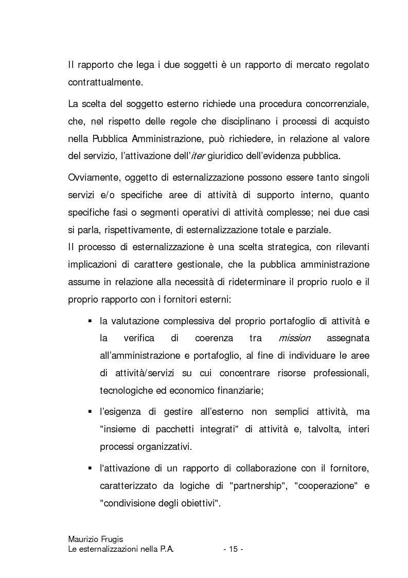 Anteprima della tesi: Le esternalizzazioni nella pubblica amministrazione, Pagina 12