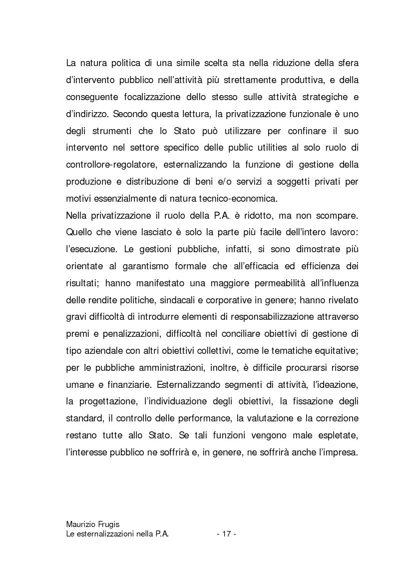 Anteprima della tesi: Le esternalizzazioni nella pubblica amministrazione, Pagina 14