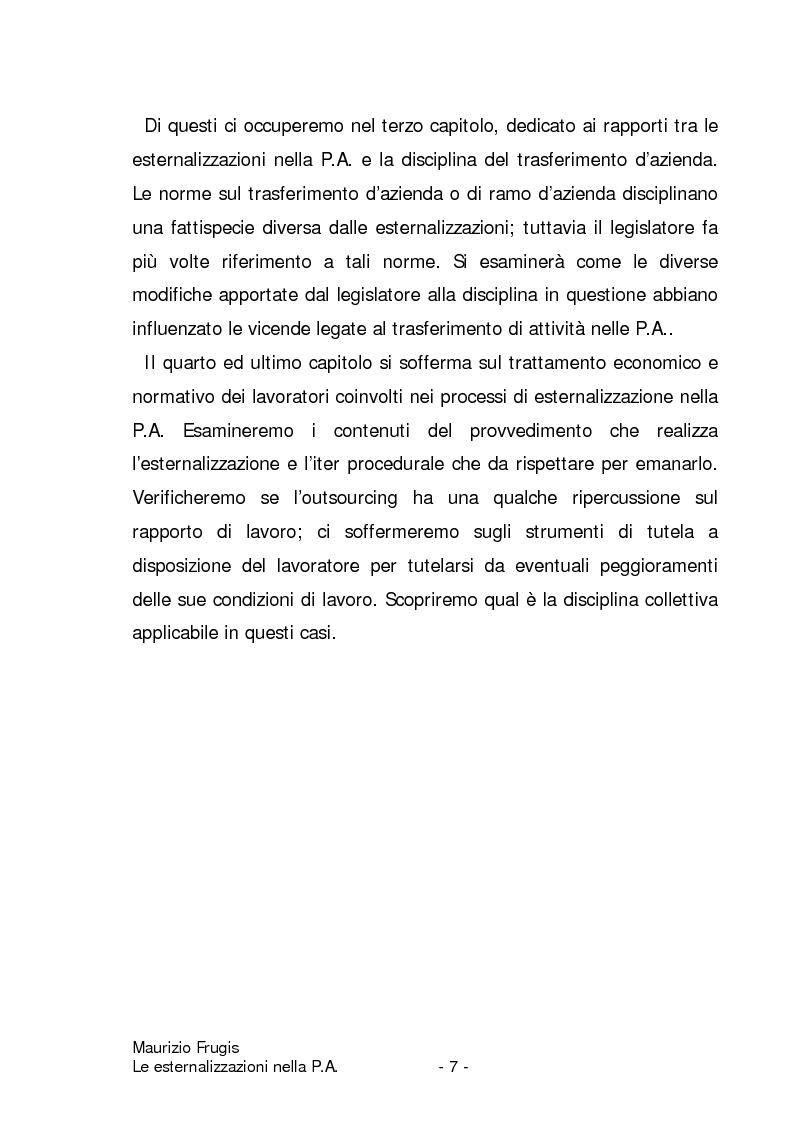Anteprima della tesi: Le esternalizzazioni nella pubblica amministrazione, Pagina 4