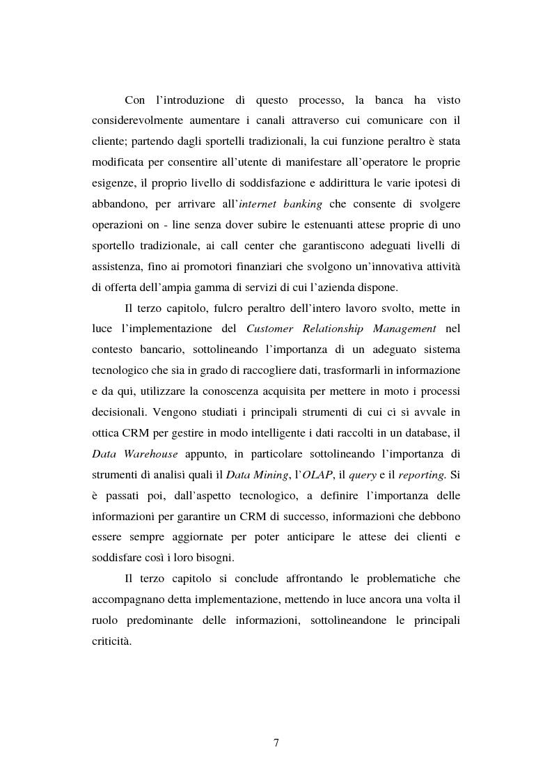 Anteprima della tesi: Implementazione e problematiche di una strategia di CRM in banca, Pagina 3