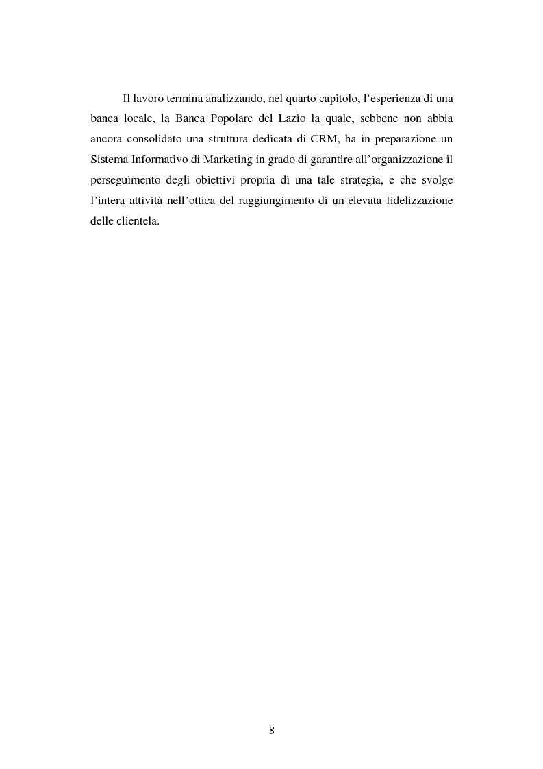 Anteprima della tesi: Implementazione e problematiche di una strategia di CRM in banca, Pagina 4