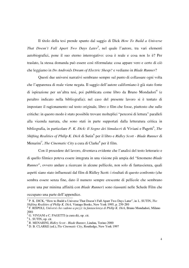 Anteprima della tesi: Universi che (non) cadono a pezzi: la negazione dell'apparenza in Do Androids Dream of Electric Sheep? di Philip K. Dick e Blade Runner di Ridley Scott, Pagina 2