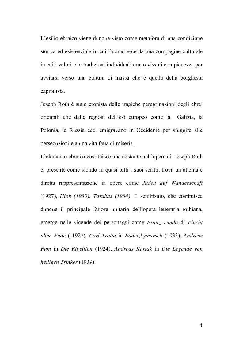 Anteprima della tesi: Ebraismo e Modernità Nella Narrativa di Joseph Roth, Pagina 2