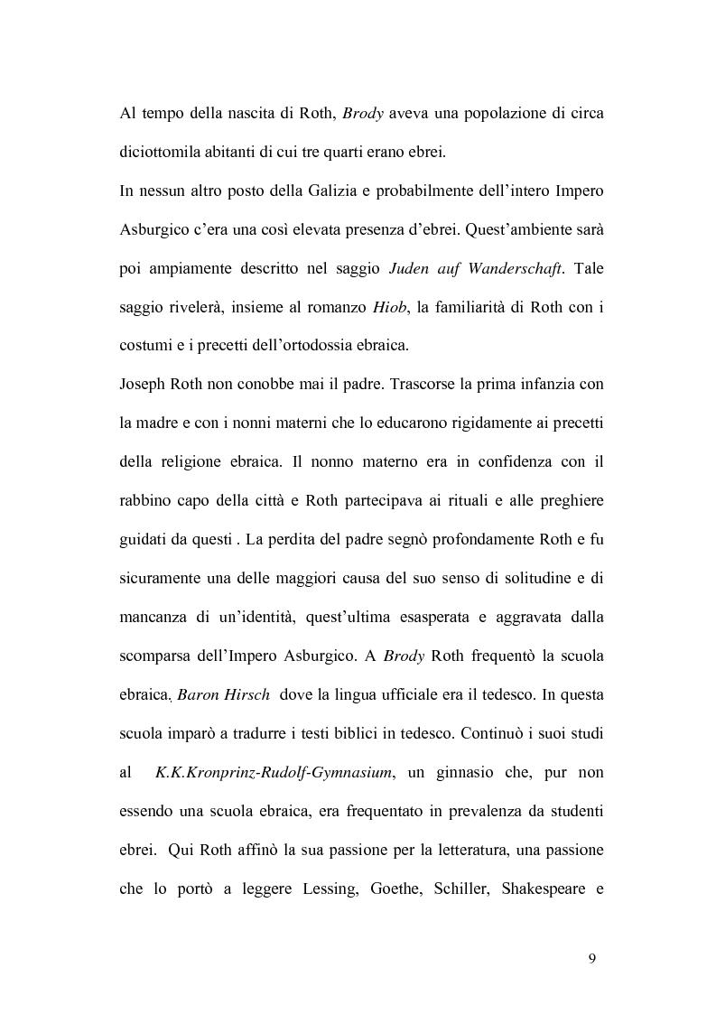 Anteprima della tesi: Ebraismo e Modernità Nella Narrativa di Joseph Roth, Pagina 7