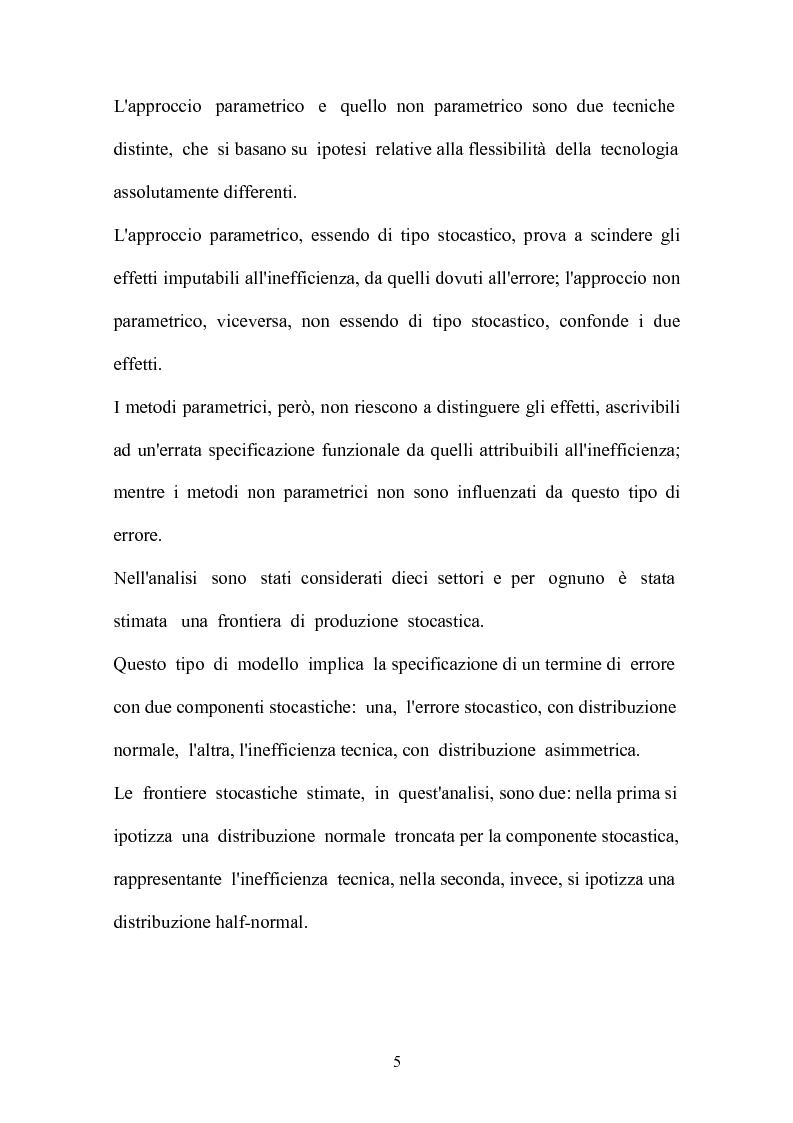 Anteprima della tesi: Metodi parametrici e non parametrici per la misura dell'efficienza nelle imprese manifatturiere, Pagina 2