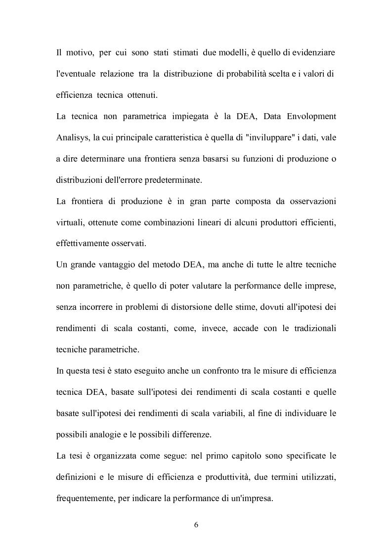 Anteprima della tesi: Metodi parametrici e non parametrici per la misura dell'efficienza nelle imprese manifatturiere, Pagina 3