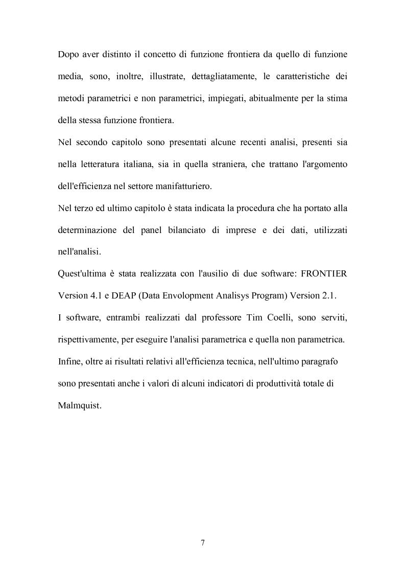 Anteprima della tesi: Metodi parametrici e non parametrici per la misura dell'efficienza nelle imprese manifatturiere, Pagina 4