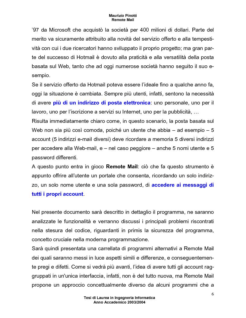 Anteprima della tesi: Remote Mail - un nuovo tool per la consultazione della posta elettronica, Pagina 2