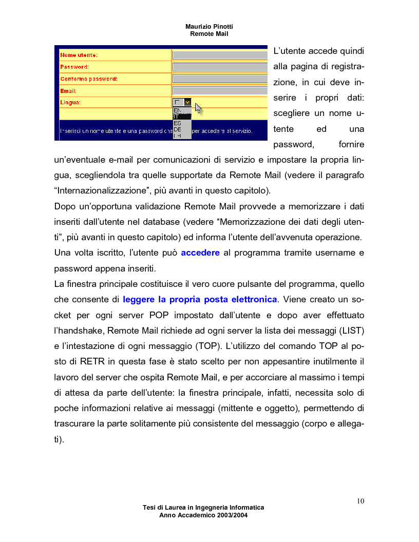 Anteprima della tesi: Remote Mail - un nuovo tool per la consultazione della posta elettronica, Pagina 6