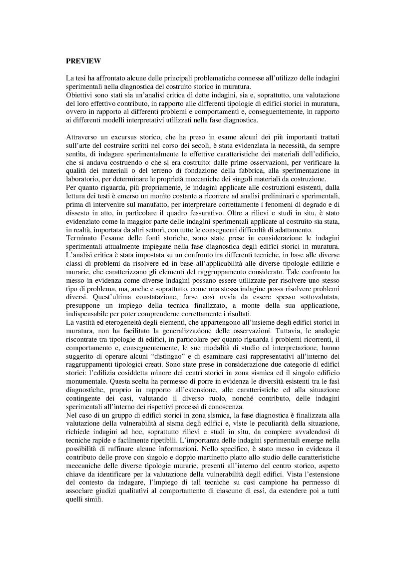 Anteprima della tesi: Contributo delle indagini sperimentali alla conoscenza degli edifici storici in muratura, Pagina 1