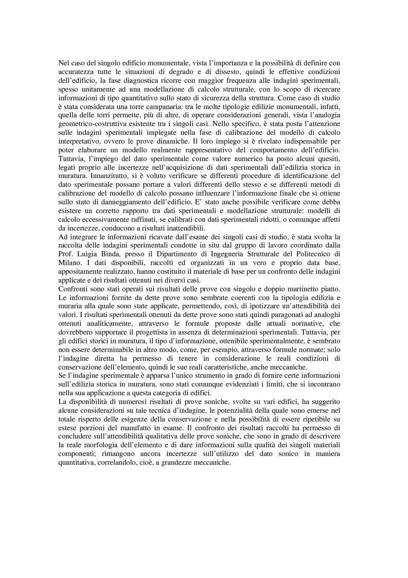 Anteprima della tesi: Contributo delle indagini sperimentali alla conoscenza degli edifici storici in muratura, Pagina 2