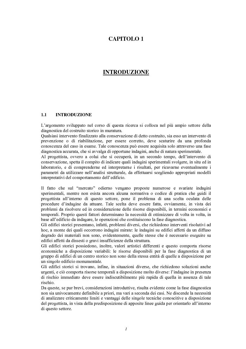 Anteprima della tesi: Contributo delle indagini sperimentali alla conoscenza degli edifici storici in muratura, Pagina 3