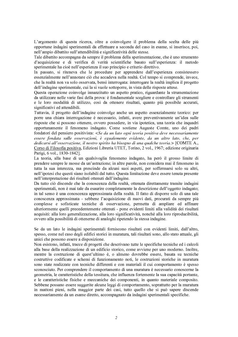 Anteprima della tesi: Contributo delle indagini sperimentali alla conoscenza degli edifici storici in muratura, Pagina 4