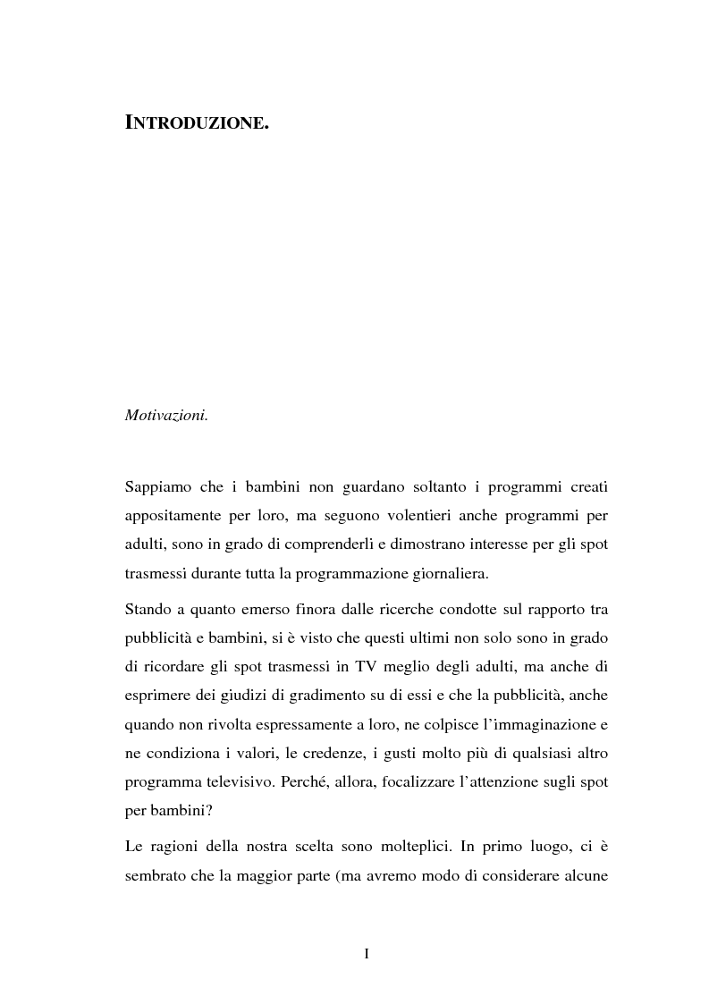 Anteprima della tesi: Il target infanzia nella pubblicità televisiva, Pagina 1