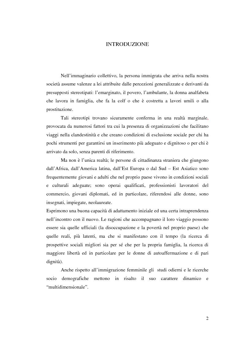 Anteprima della tesi: Immigrazione femminile e maternità: strategie di progetto, Pagina 1