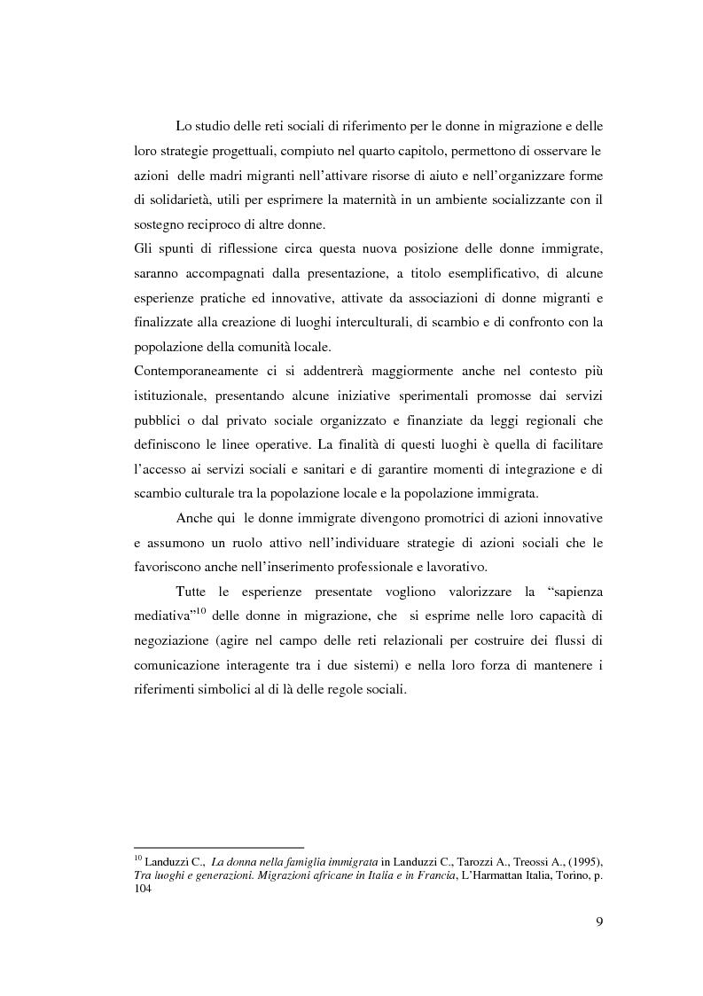 Anteprima della tesi: Immigrazione femminile e maternità: strategie di progetto, Pagina 8