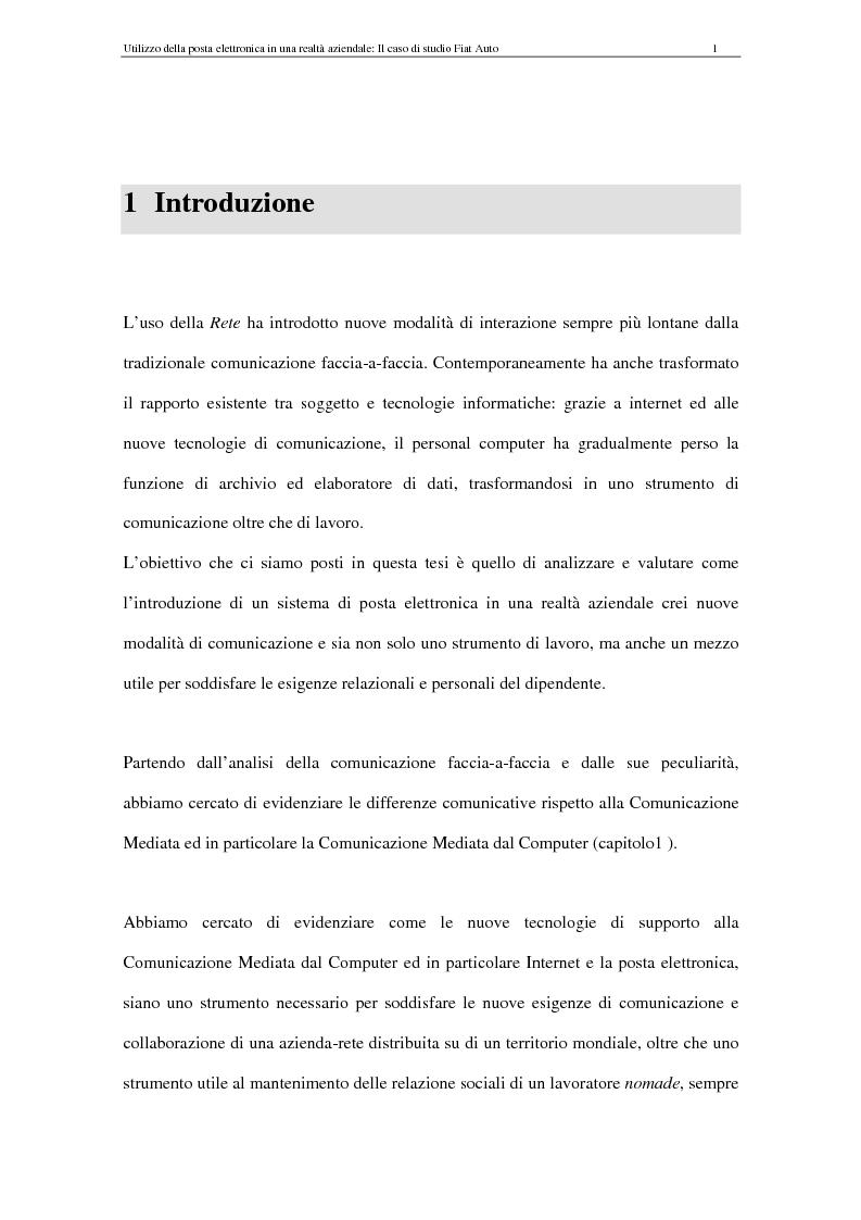 Anteprima della tesi: La Comunicazione Mediata da Computer (CMC) - Un caso di studio: utilizzo della posta elettronica in Fiat Auto, Pagina 1