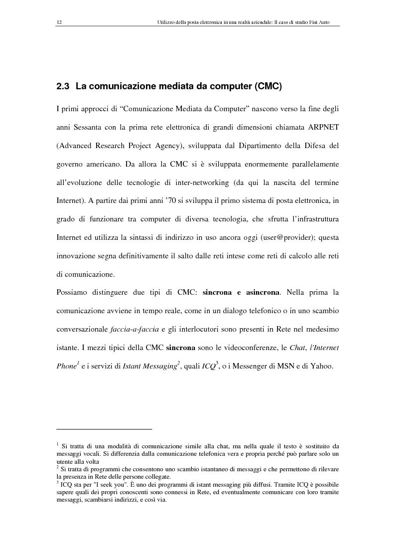 Anteprima della tesi: La Comunicazione Mediata da Computer (CMC) - Un caso di studio: utilizzo della posta elettronica in Fiat Auto, Pagina 12
