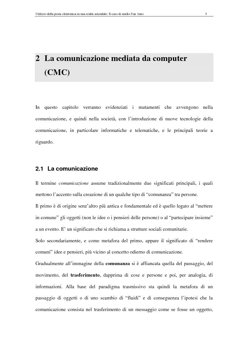 Anteprima della tesi: La Comunicazione Mediata da Computer (CMC) - Un caso di studio: utilizzo della posta elettronica in Fiat Auto, Pagina 3