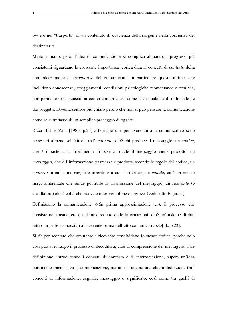 Anteprima della tesi: La Comunicazione Mediata da Computer (CMC) - Un caso di studio: utilizzo della posta elettronica in Fiat Auto, Pagina 4