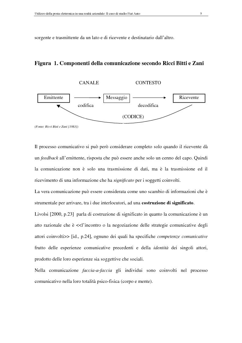 Anteprima della tesi: La Comunicazione Mediata da Computer (CMC) - Un caso di studio: utilizzo della posta elettronica in Fiat Auto, Pagina 5