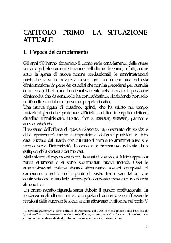 Anteprima della tesi: Il marketing e la comunicazione nella pubblica amministrazione che cambia. Il caso dei Servizi per l'Impiego, Pagina 1