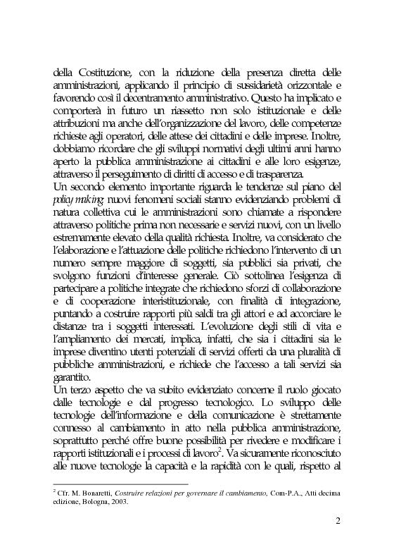Anteprima della tesi: Il marketing e la comunicazione nella pubblica amministrazione che cambia. Il caso dei Servizi per l'Impiego, Pagina 2