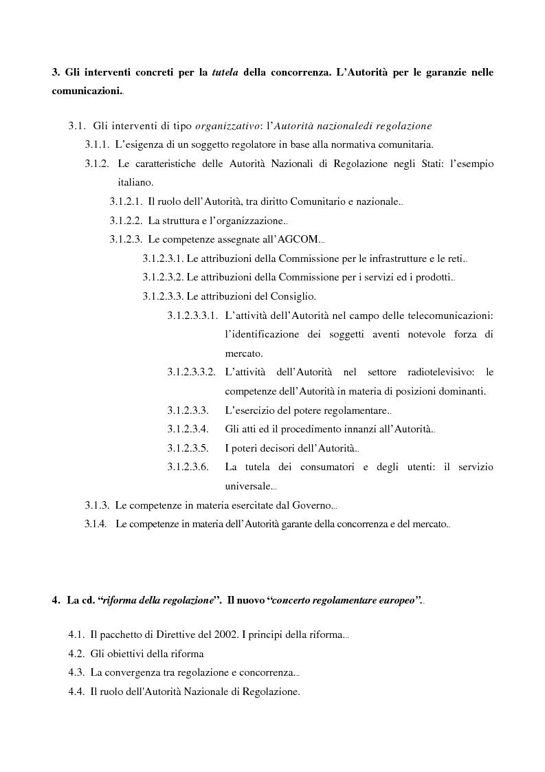 Indice della tesi: L'Autorità per le garanzie nelle comunicazioni dopo le Direttive 2002, Pagina 2