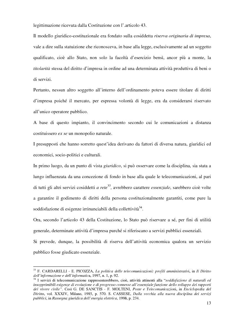 Anteprima della tesi: L'Autorità per le garanzie nelle comunicazioni dopo le Direttive 2002, Pagina 13