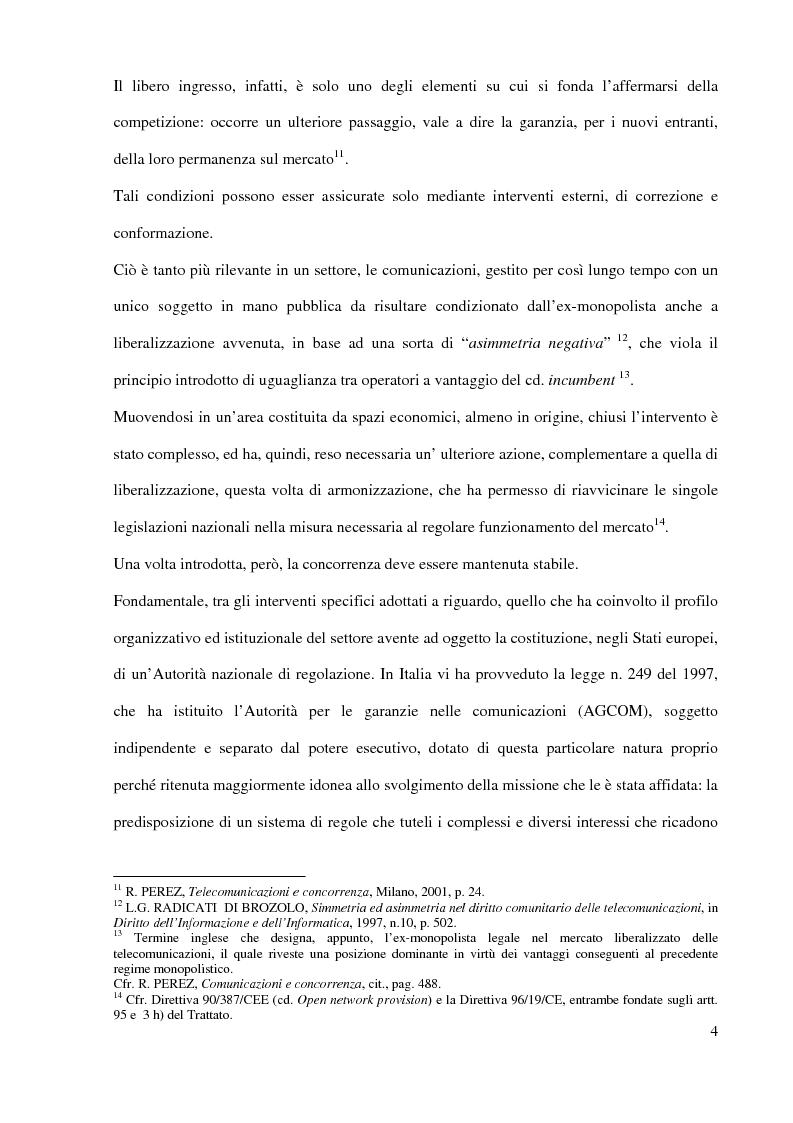 Anteprima della tesi: L'Autorità per le garanzie nelle comunicazioni dopo le Direttive 2002, Pagina 4