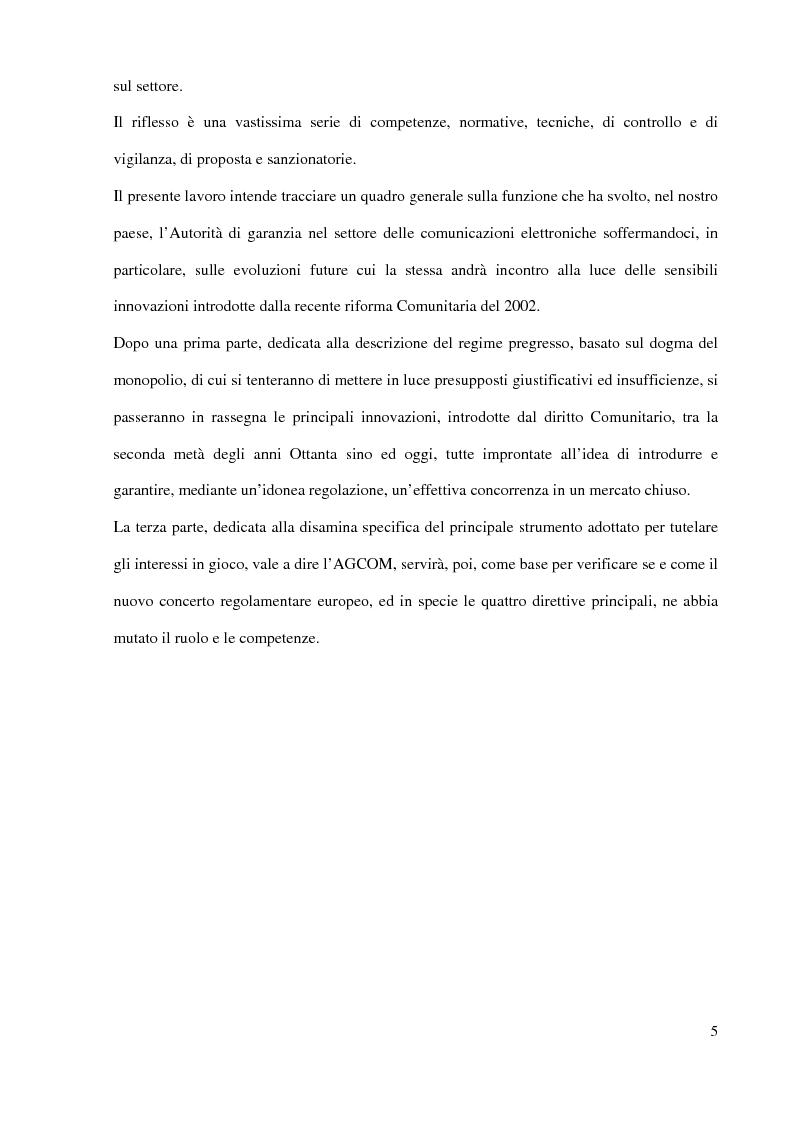Anteprima della tesi: L'Autorità per le garanzie nelle comunicazioni dopo le Direttive 2002, Pagina 5