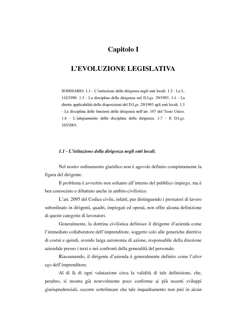 Anteprima della tesi: La dirigenza nell'ente locale: evoluzione legislativa, funzioni e responsabilità, Pagina 1