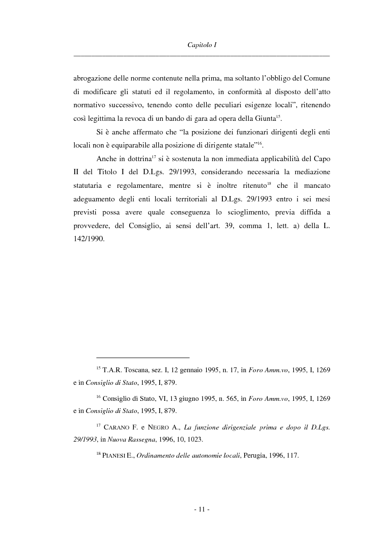 Anteprima della tesi: La dirigenza nell'ente locale: evoluzione legislativa, funzioni e responsabilità, Pagina 11