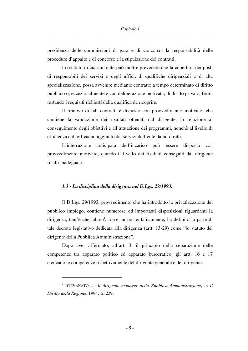 Anteprima della tesi: La dirigenza nell'ente locale: evoluzione legislativa, funzioni e responsabilità, Pagina 5