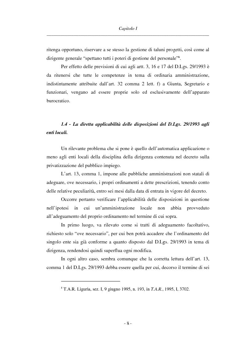 Anteprima della tesi: La dirigenza nell'ente locale: evoluzione legislativa, funzioni e responsabilità, Pagina 8