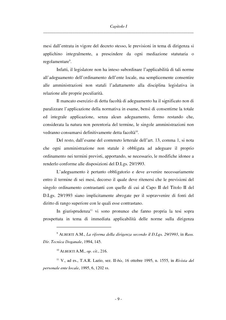 Anteprima della tesi: La dirigenza nell'ente locale: evoluzione legislativa, funzioni e responsabilità, Pagina 9