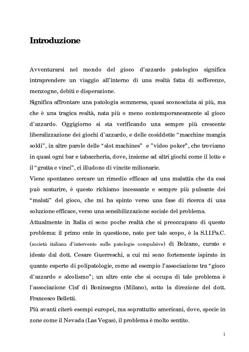 Anteprima della tesi: La patologia del gioco d'azzardo nell'età moderna. L'informazione come cura, Pagina 1