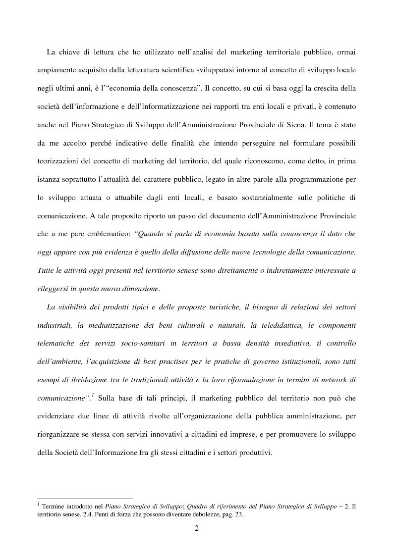 Anteprima della tesi: Comunicazione e Marketing del Territorio. La Promozione Locale del C.A.T. Confesercenti a Siena, Pagina 2