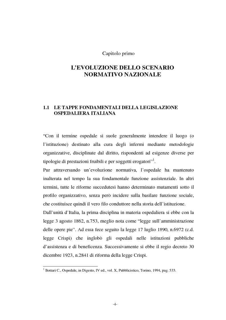 Anteprima della tesi: L'azienda ospedaliera nell'ambito del riordino del servizio sanitario della Regione Lombardia, Pagina 1