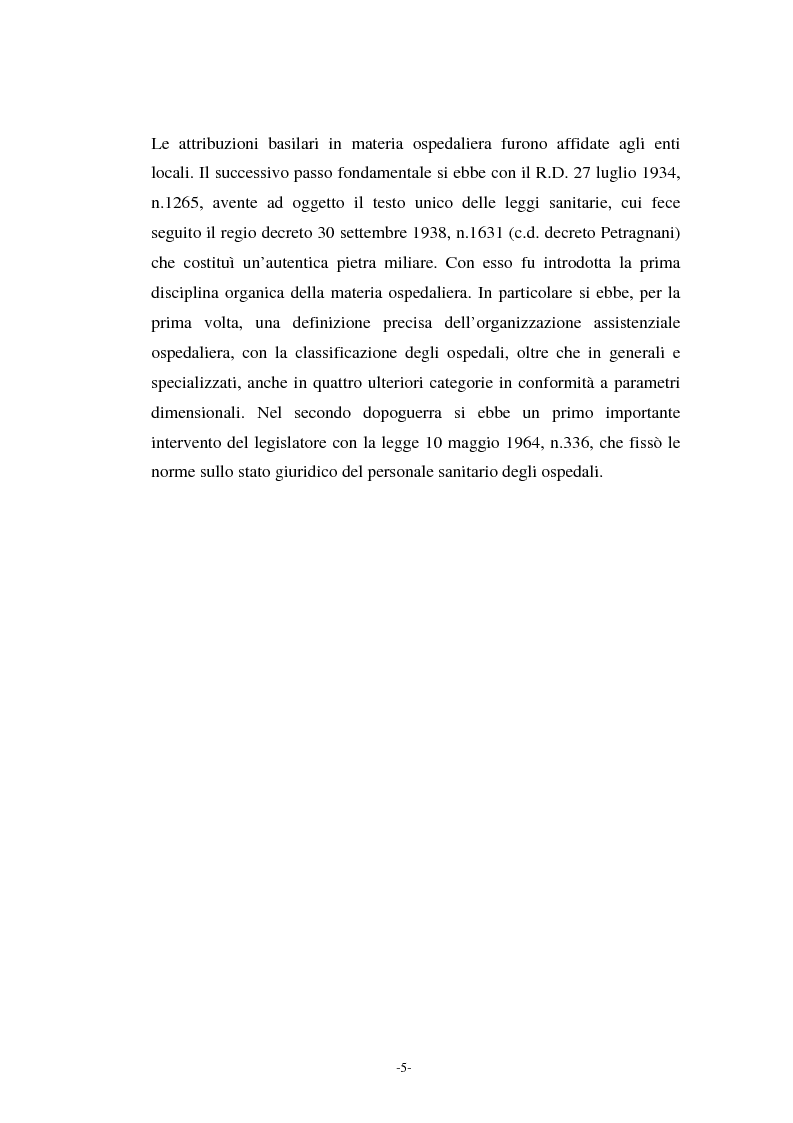 Anteprima della tesi: L'azienda ospedaliera nell'ambito del riordino del servizio sanitario della Regione Lombardia, Pagina 2