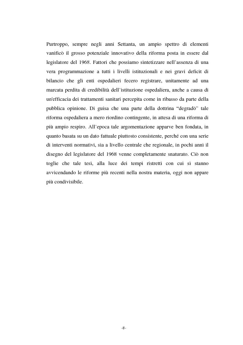 Anteprima della tesi: L'azienda ospedaliera nell'ambito del riordino del servizio sanitario della Regione Lombardia, Pagina 5