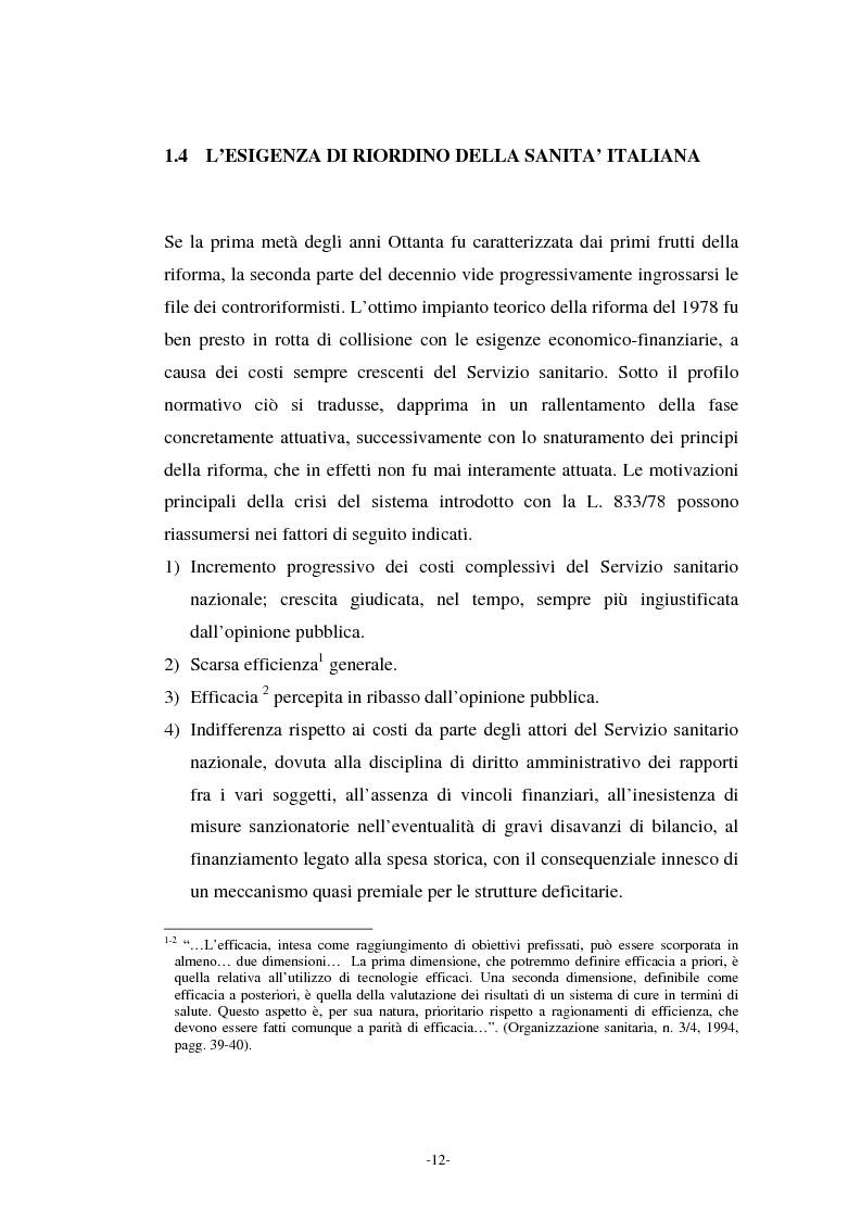 Anteprima della tesi: L'azienda ospedaliera nell'ambito del riordino del servizio sanitario della Regione Lombardia, Pagina 9