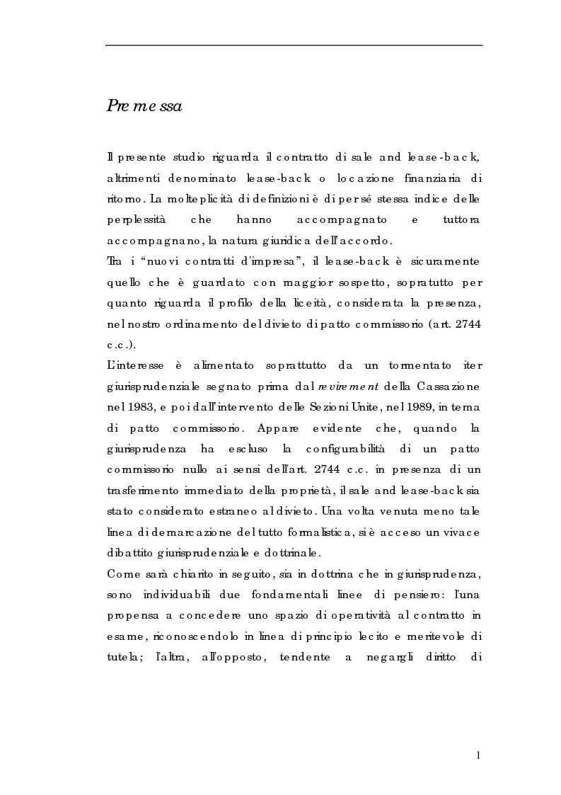 Anteprima della tesi: Sale and lease-back e divieto del patto comissorio, Pagina 1