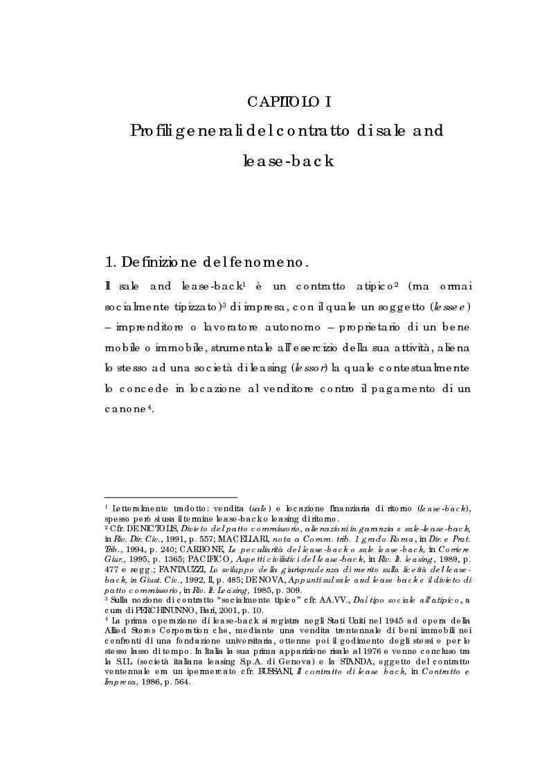 Anteprima della tesi: Sale and lease-back e divieto del patto comissorio, Pagina 3