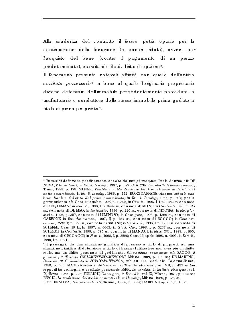 Anteprima della tesi: Sale and lease-back e divieto del patto comissorio, Pagina 4