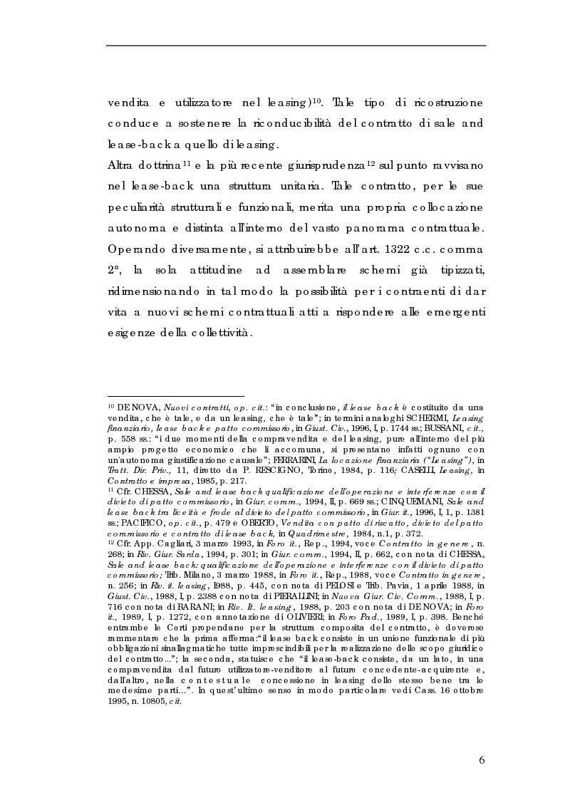 Anteprima della tesi: Sale and lease-back e divieto del patto comissorio, Pagina 6