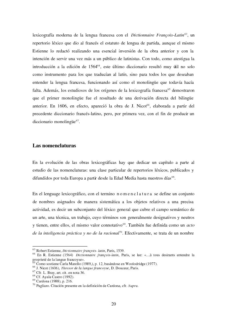 Anteprima della tesi: La Nomenclatura Italiana, francesa y española de Guillaime Alexandre de Noviliers Clavel. Estudio, Pagina 14