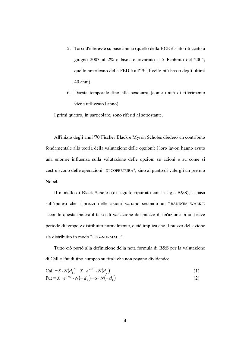 Anteprima della tesi: Valutazione di opzioni finanziarie: Un' applicazione al mercato italiano, Pagina 2