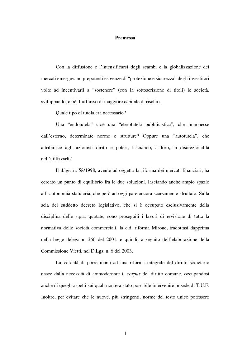 Anteprima della tesi: Tutela delle minoranze: azione sociale di responsabilità, Pagina 1