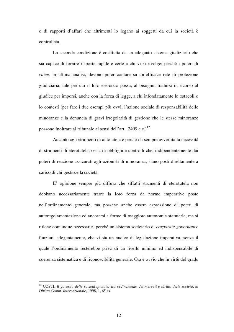 Anteprima della tesi: Tutela delle minoranze: azione sociale di responsabilità, Pagina 12
